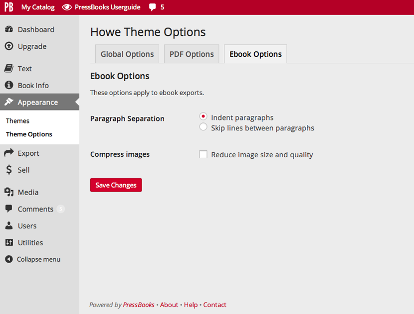 Ebook options screen