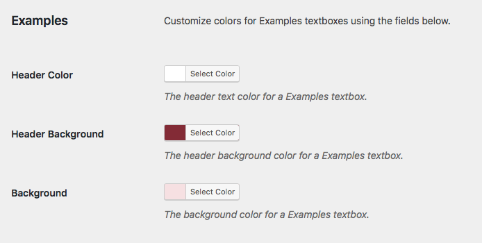 Color Customization options for the Examples textbox on the Global Theme Options page.