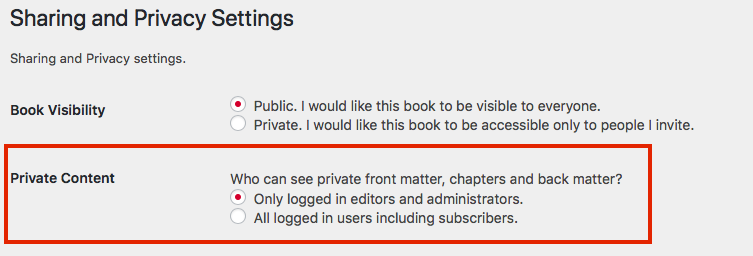 Private Content setting available on the Sharing and Privacy Settings page