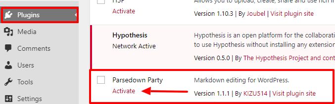 """The Activate link is underneath """"Parsedown party"""" on the Plugins page"""