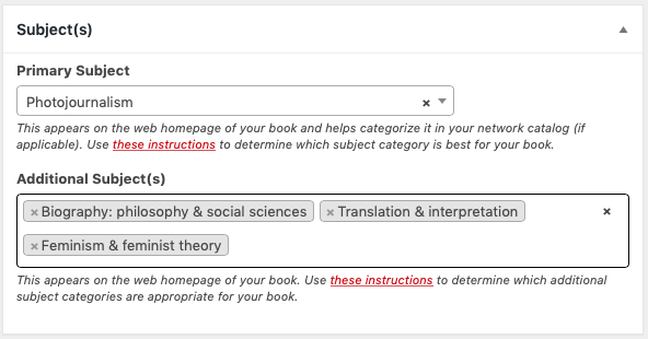 The Subject section on the Book Info page