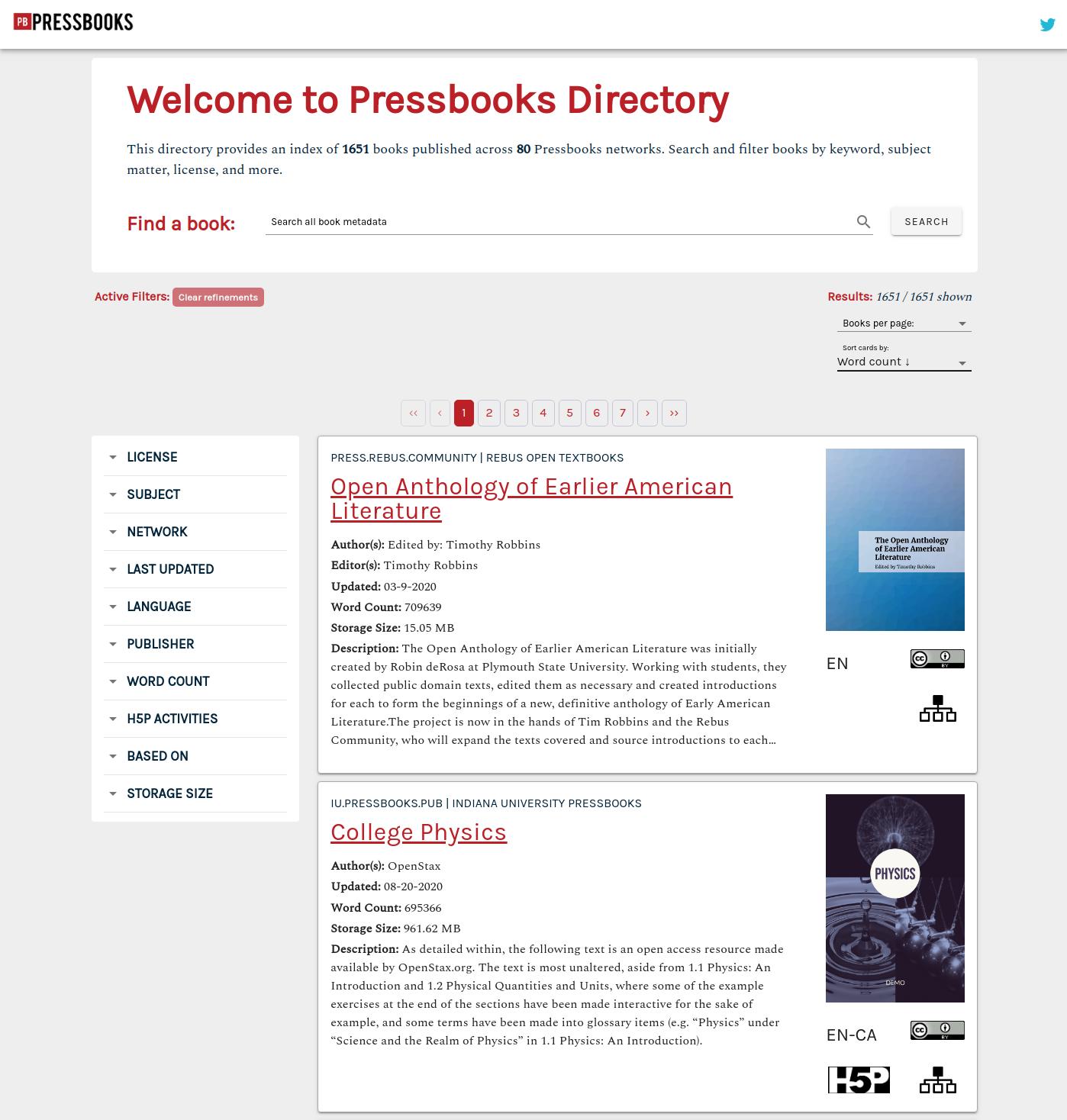 Pressbooks Directory Landing Page