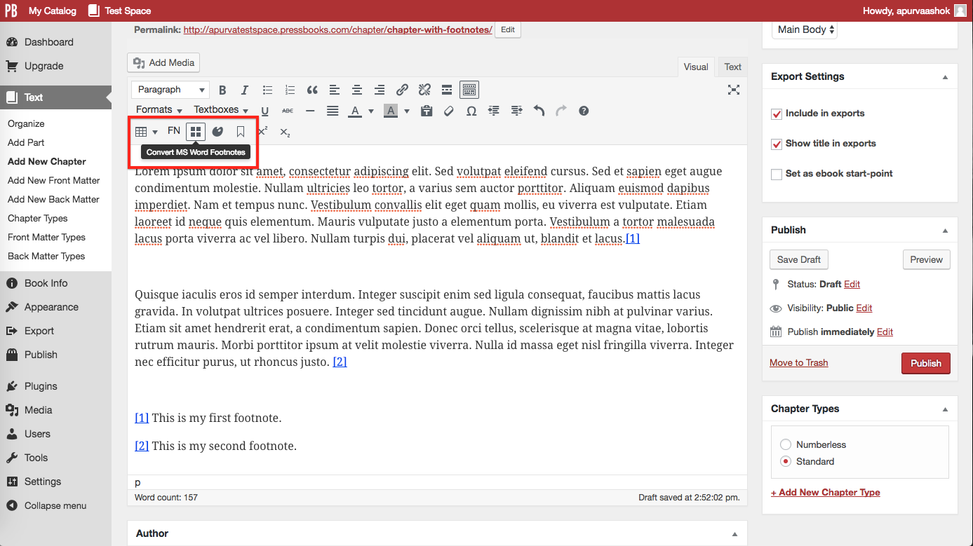 """After copying or importing Word doc, click """"Convert MS Word Footnotes"""" button"""