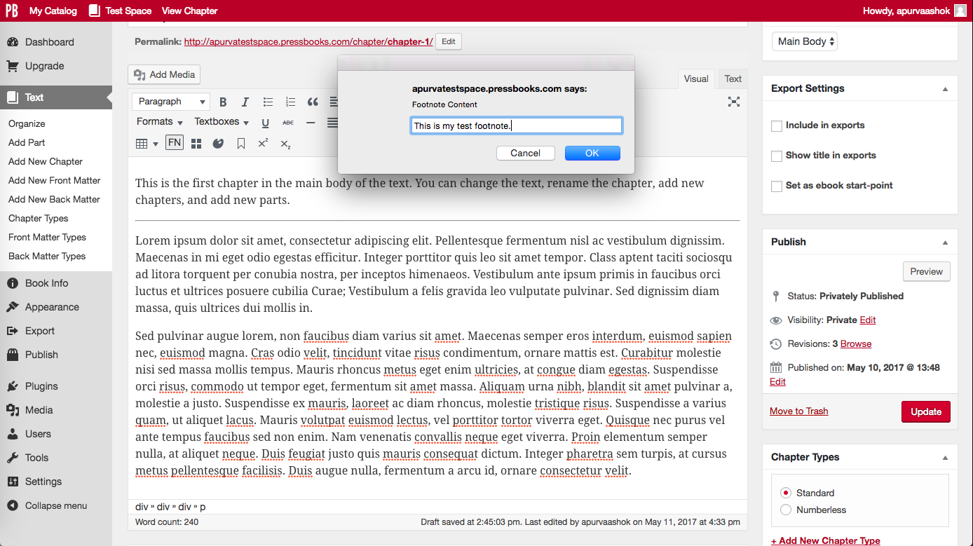 """Click """"FN"""" button and type footnote into pop-up window"""