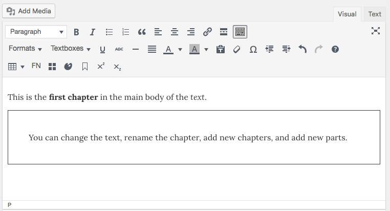The visual editor interface