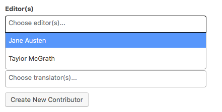 Contributor dropdown menu on the Book Info page
