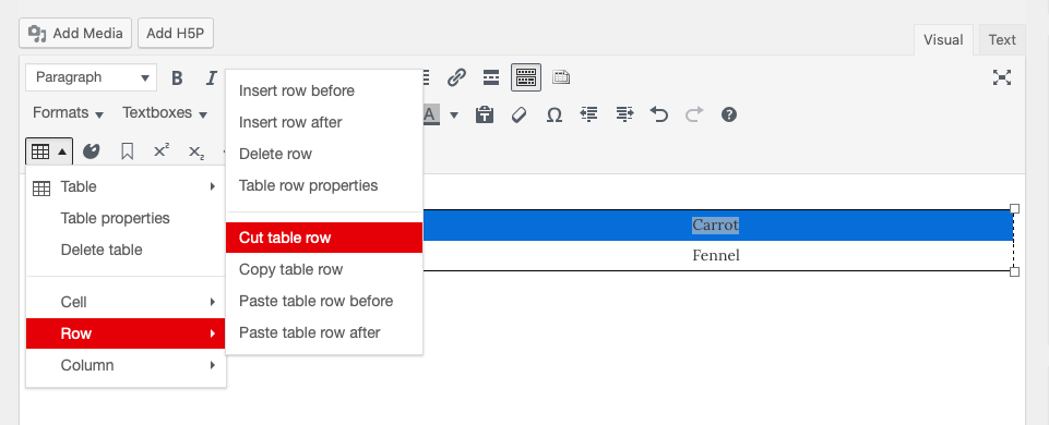Table menu open on the chapter editor page