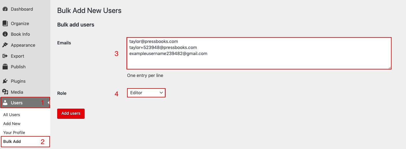Add Bulk Users form