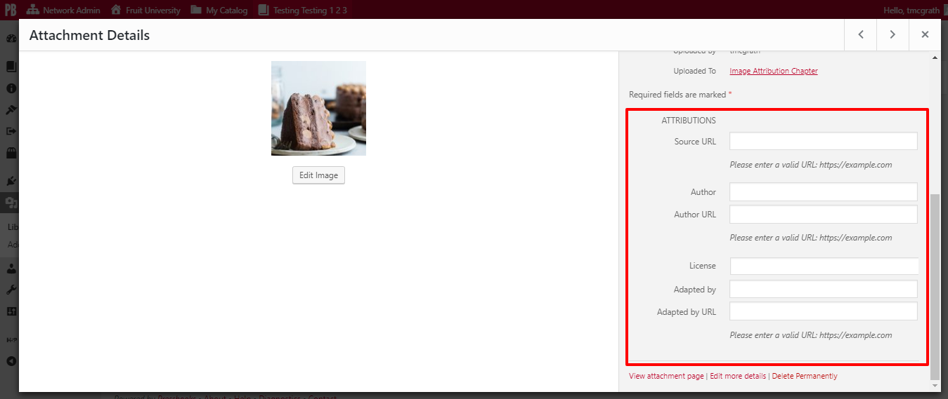 The attribution metadata fields can be filled in under ATTRIBUTIONS on the right-side of the Attachment Details window