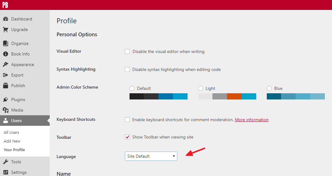 Language setting on the User Profile page