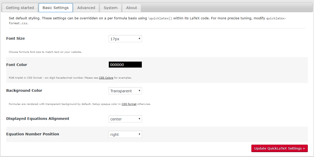 QuickLaTeX basic settings