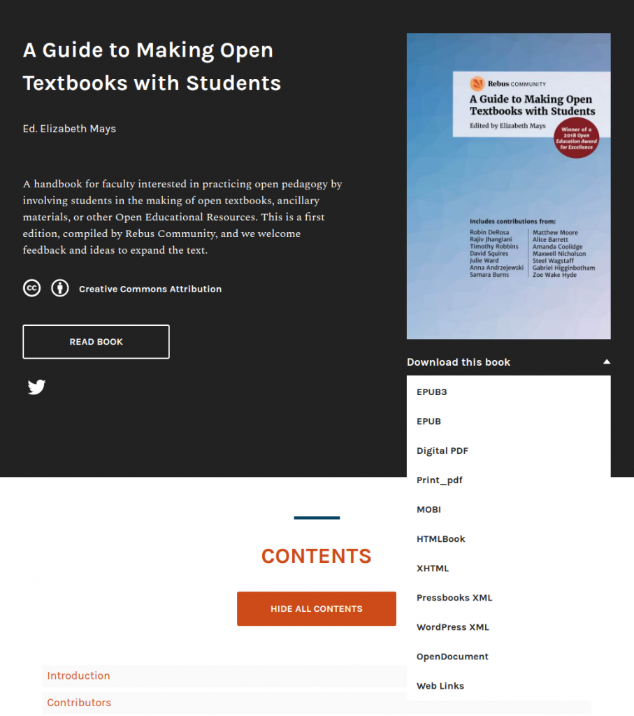 Pressbooks webbook home page with file download menu expanded