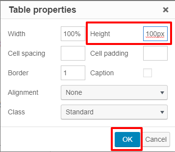The height property in the table properties window